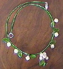 Bead and leaf necklace